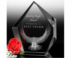 3d engraved crystal hexagon award