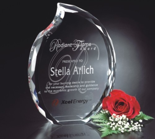 3D Engraved Faceted Crystal Flame Award