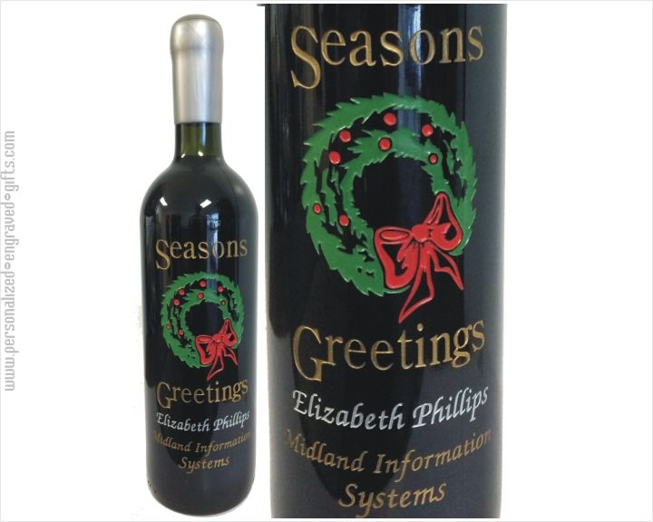 Personalized Wine Bottle with Christmas Wreath Design