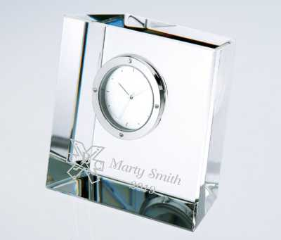 Personalized Engraved Crystal Block Clock