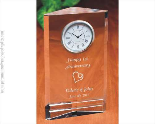 Engraved Crystal Clock