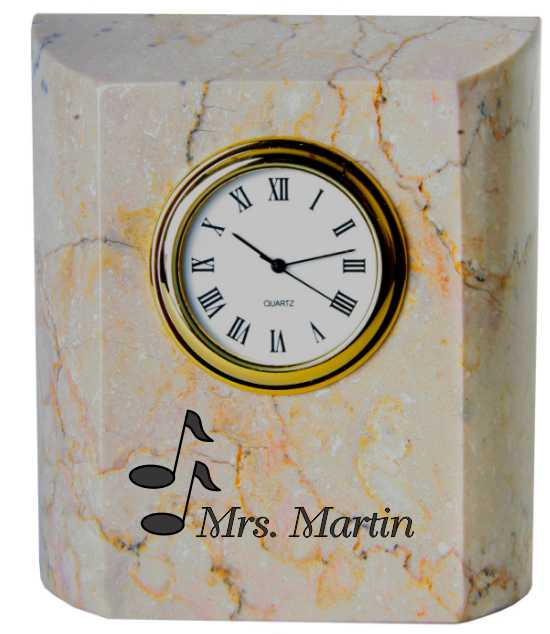 Personalized Engraved white marble clock