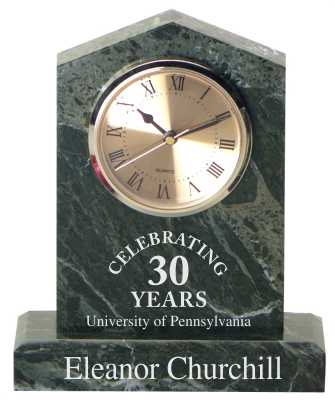 Engraved Cathedral Jade Marble Clock with Personalized Text