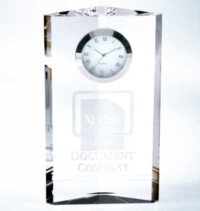 Personalized Engraved 7inch Crystal Clock Triune
