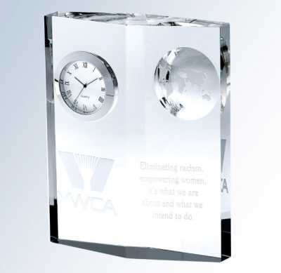 Personalized Crystal Globe Clock