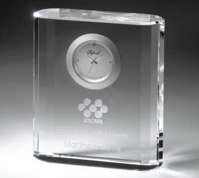 Personalized crystal anniversary clock with company logo