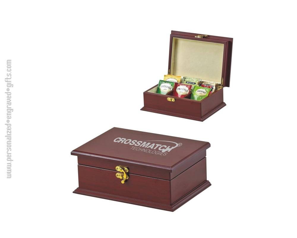 Personalized Engraved Rosewood Tea box with Logo