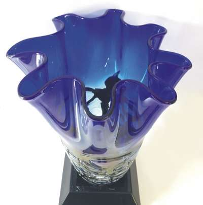Top View of Engraved Art Glass Vase