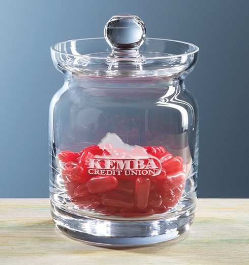 Engraved Crystal Jar with Jelly Beans