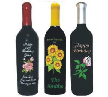 Custom Engraved Wine Bottles with Hand-Painted Flowers