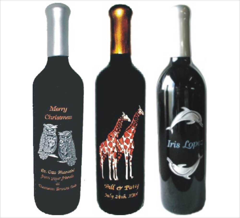 personalized engraved wine bottles deep etched custom With customize wine bottles
