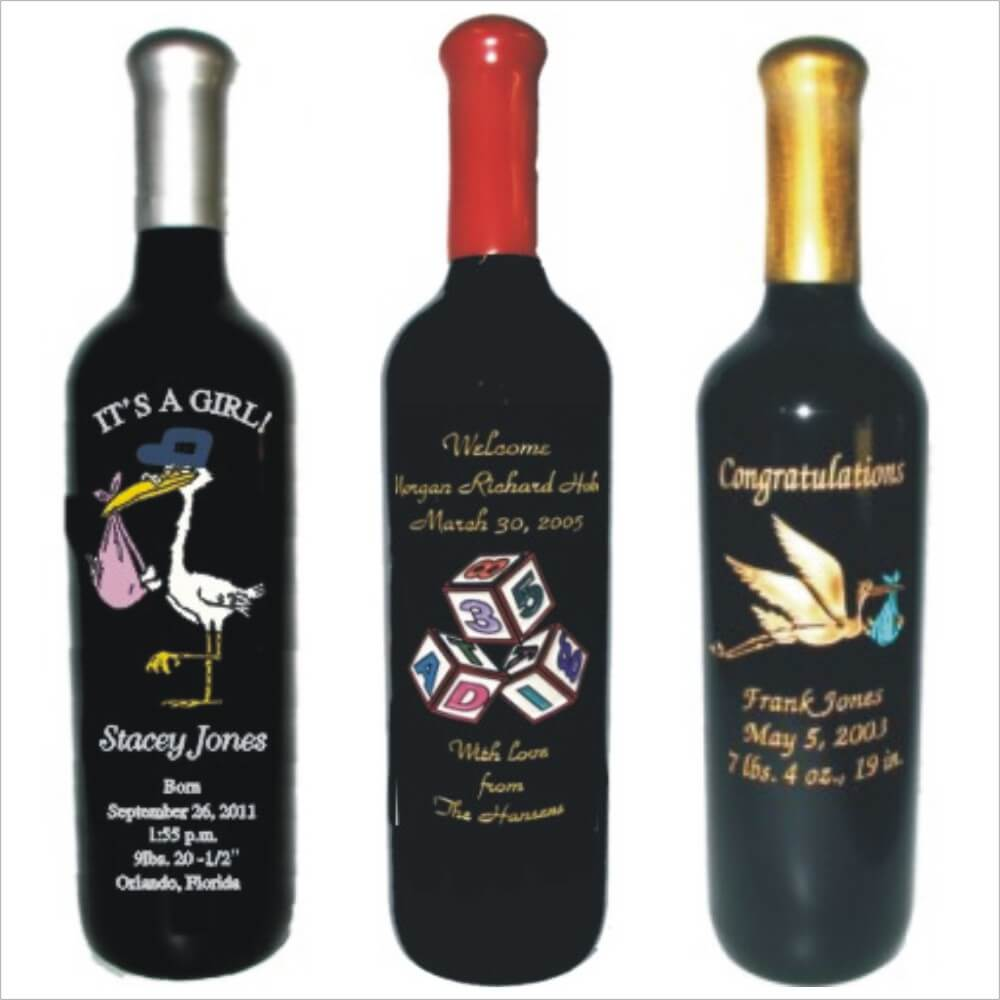 Engraved Baby Announcement Wine Bottles
