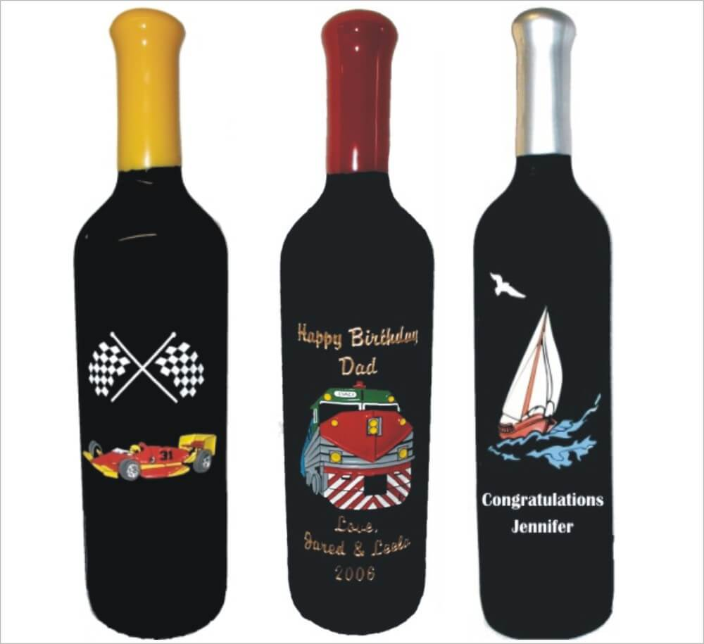 Planes, Trains, Cars & Boats Engraved Wine Bottles