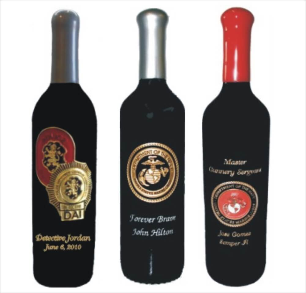 Military, Police & Fire Engraved Wine Bottles