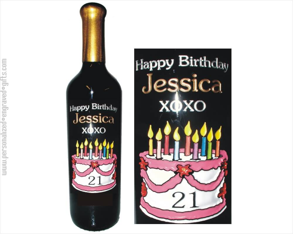 Up And Away Happy Birthday Balloon Engraved Wine Bottle