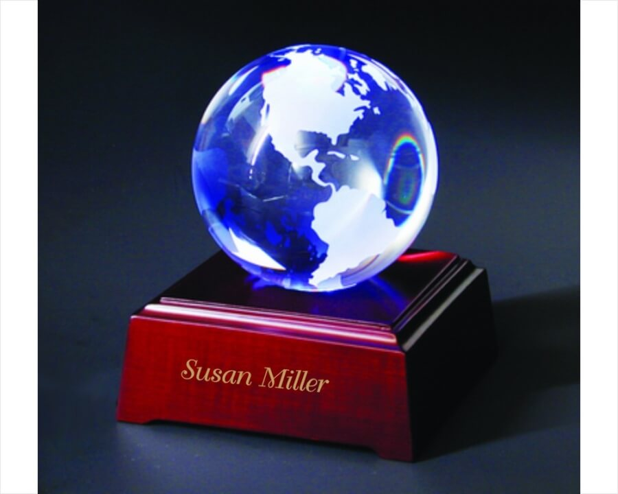Etched Crystal World On Led Lighted Wooden Base