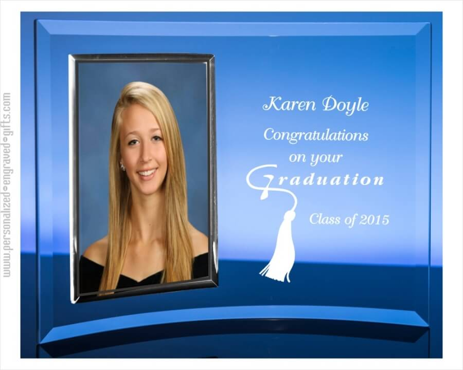 Engraved Glass Picture Frame and Graduation Picture