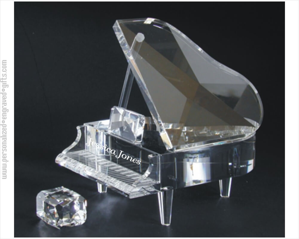 Custom Engraved Crystal Grand Piano Set