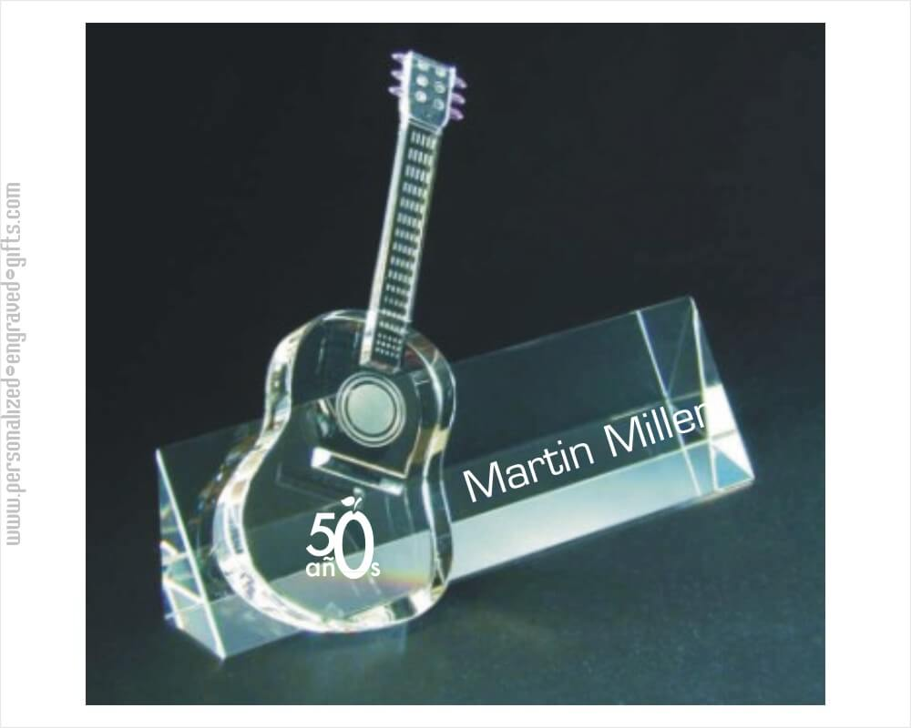 Custom Engraved Crystal Guitar Award Nameplate
