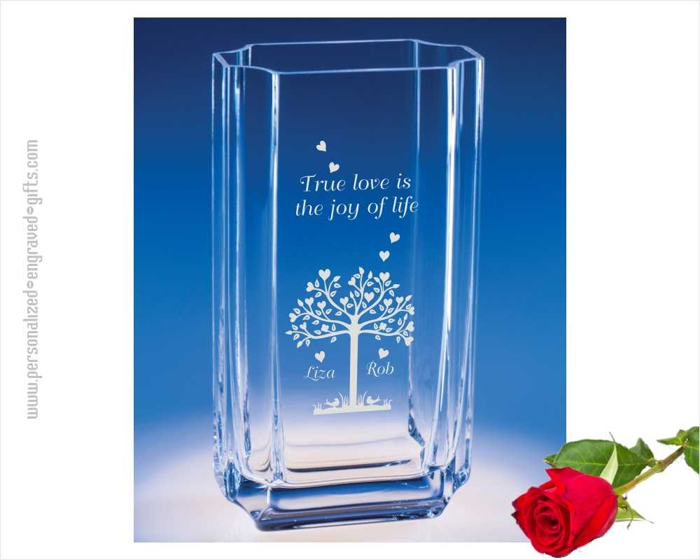 Engraved Straight Sided Glass Vase Coco