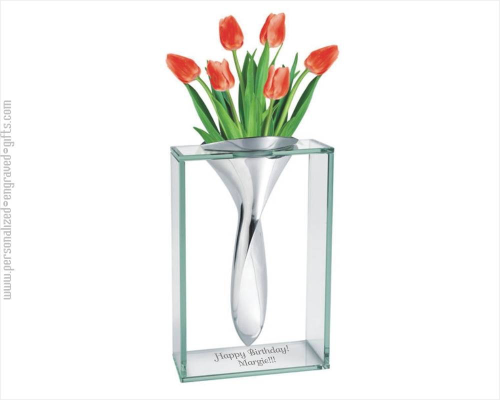 Engraved Contemporary Chrome And Glass Vase The Elvis