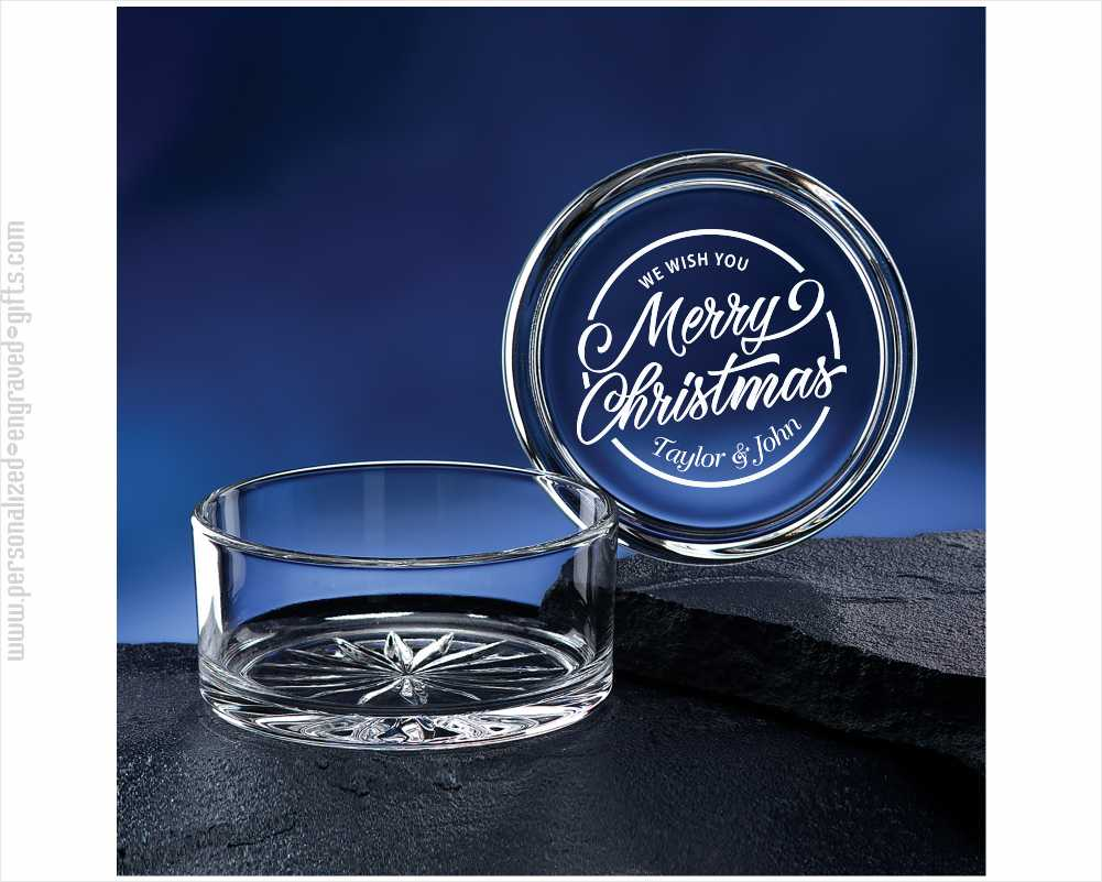 Engraved Round Crystal Candy Dish