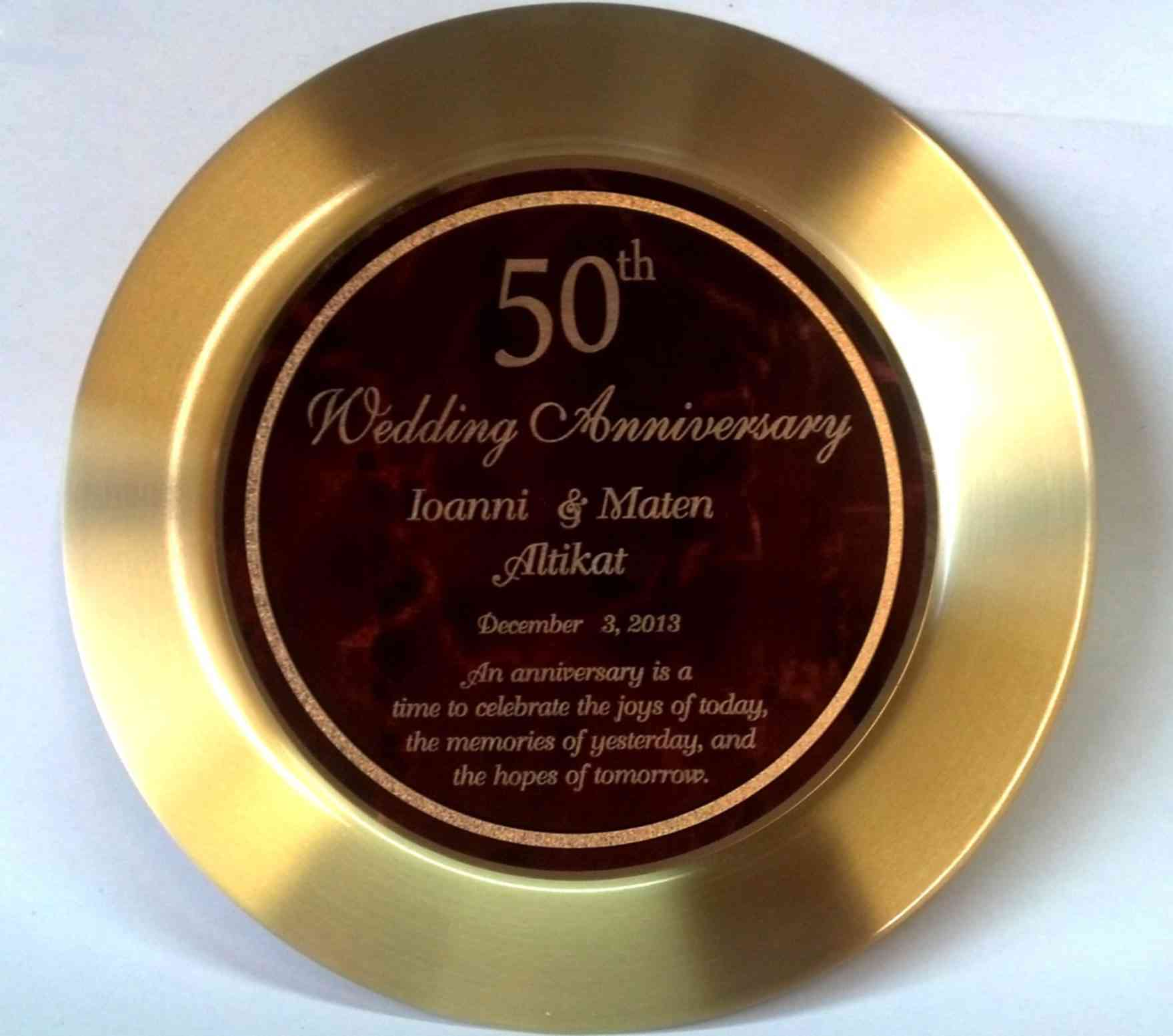 Brass Gifts For Wedding Anniversary: Brass Plate Engraved For 50th Wedding Anniversary