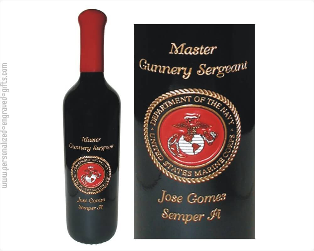 Hand Painted Wine Bottle With Marine Insignia
