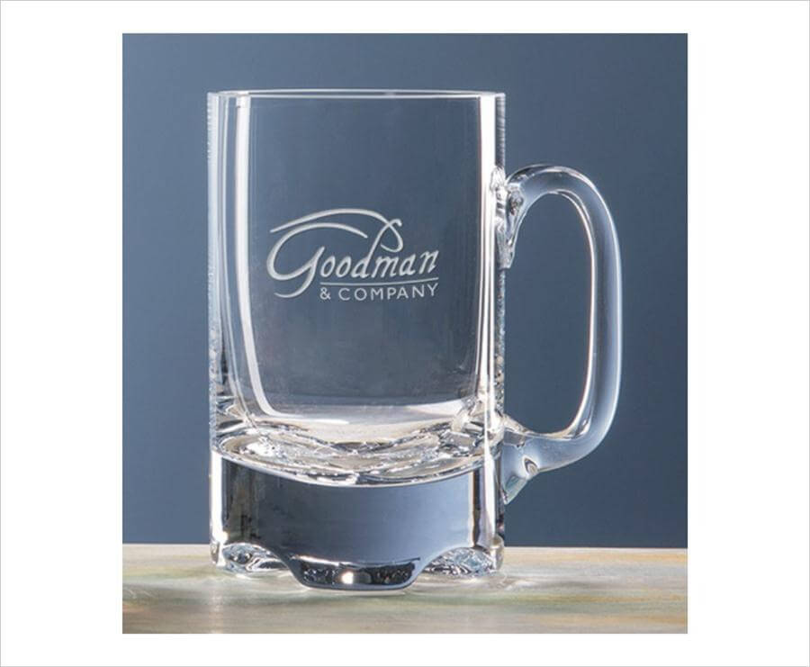 engraved oversized crystal beer mug empire