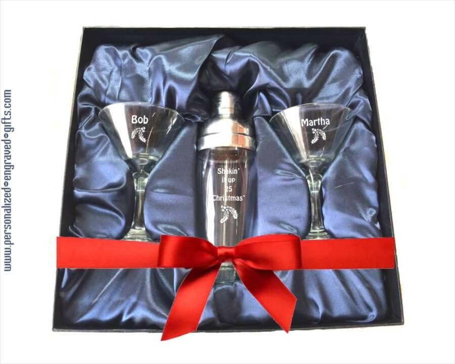 Custom Engraved Holiday Martini Shaker Gift Set With 2 Glasses