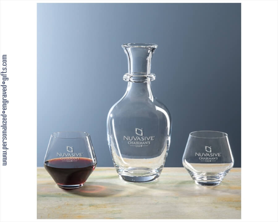 Engraved Italian Glass Wine Decanter Set With 2 Stemless Glasses