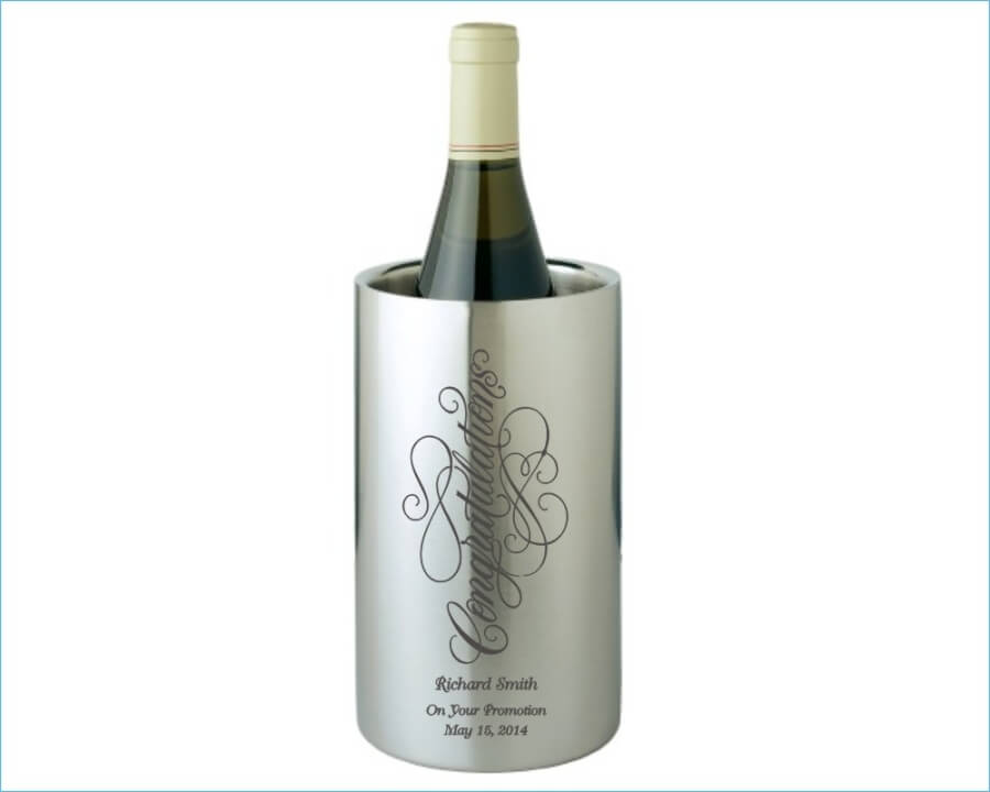 custom engraved straight sided stainless steel wine cooler