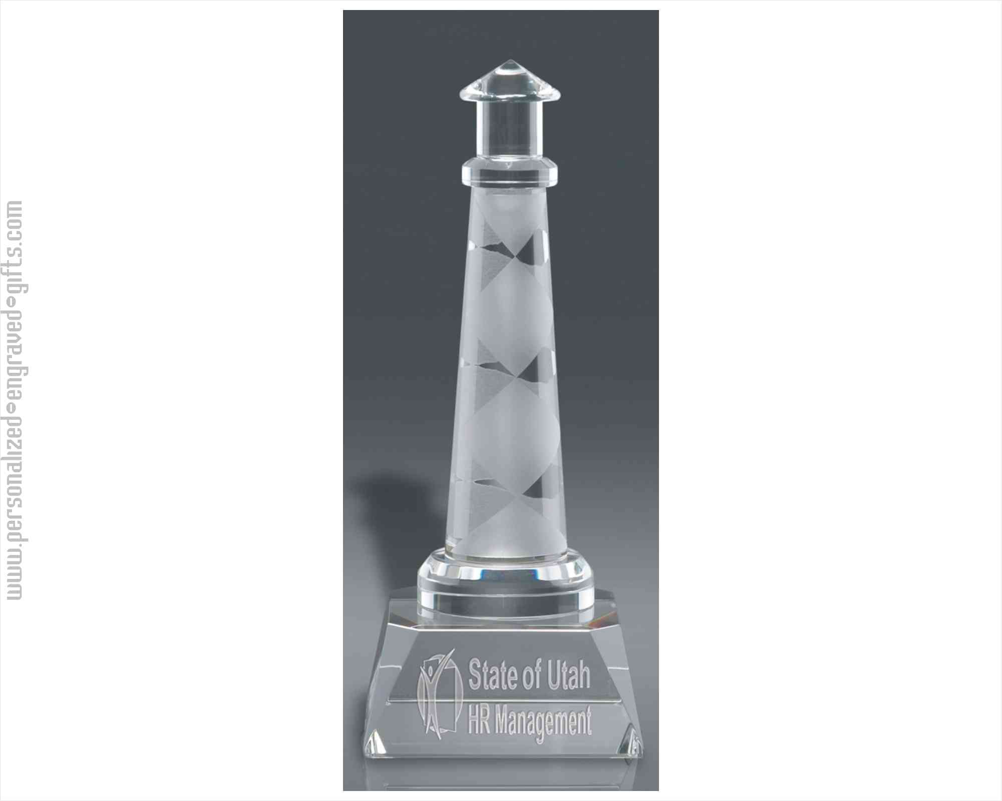 Etched Lighthouse With Clear Base
