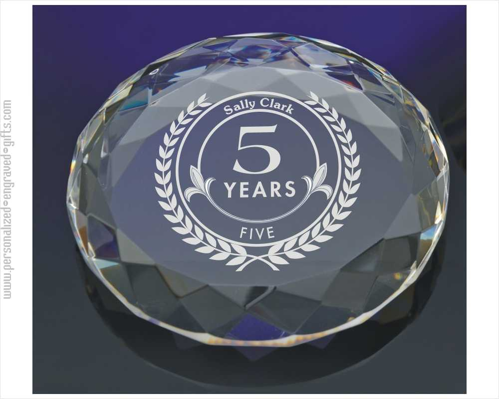 Gem Cut Circle Crystal Customized Paperweight