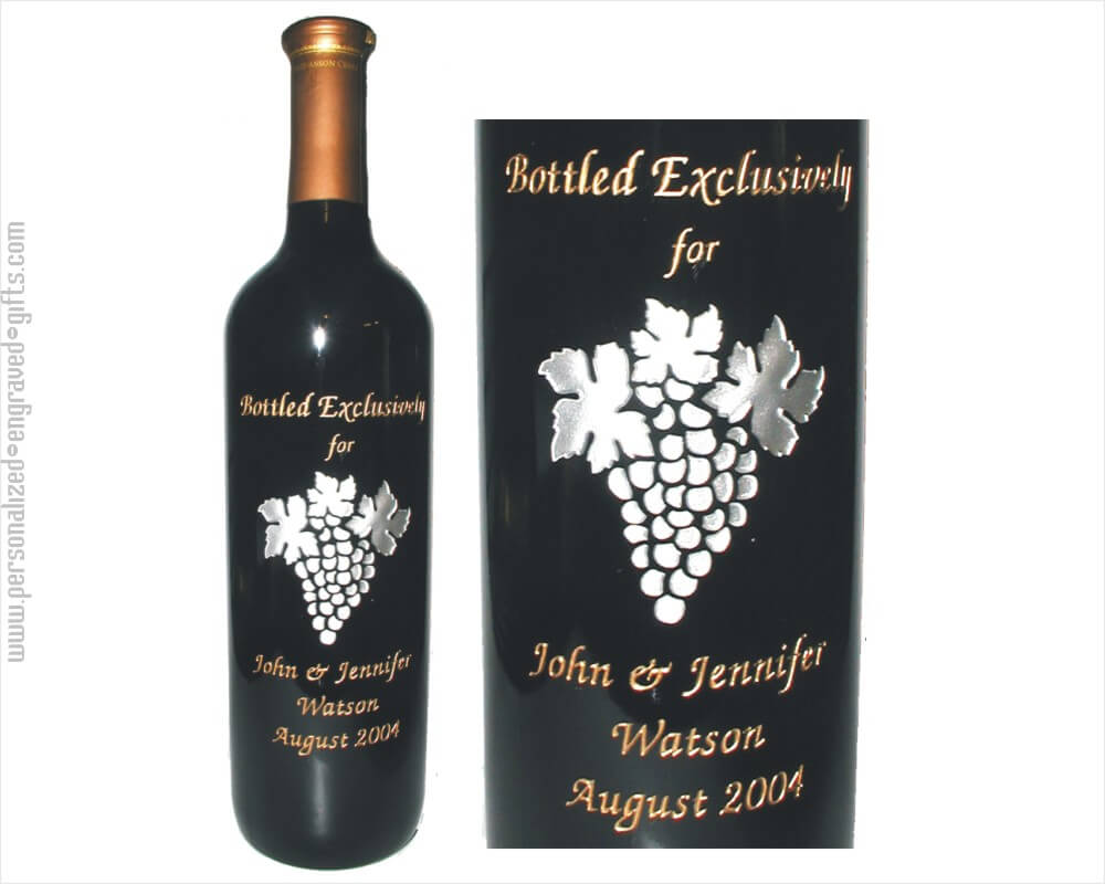 Grape Cluster Engraved On A Wine Bottle