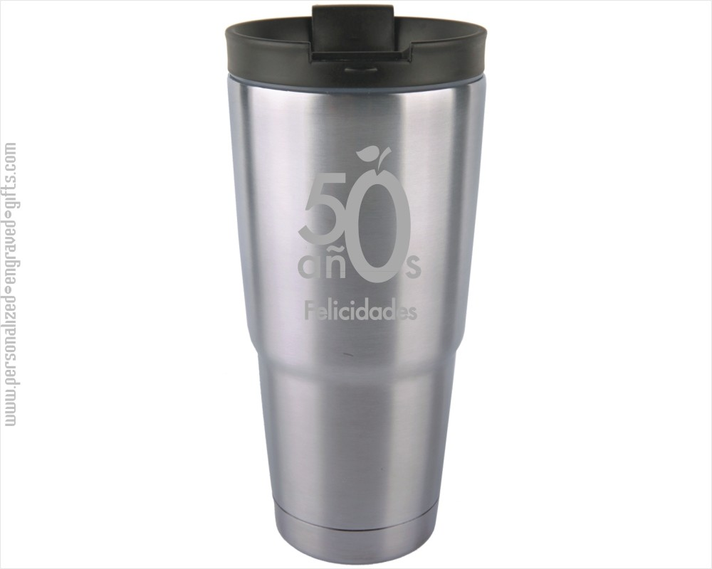 Engraved Stainless Steel Travel Coffee Mugs