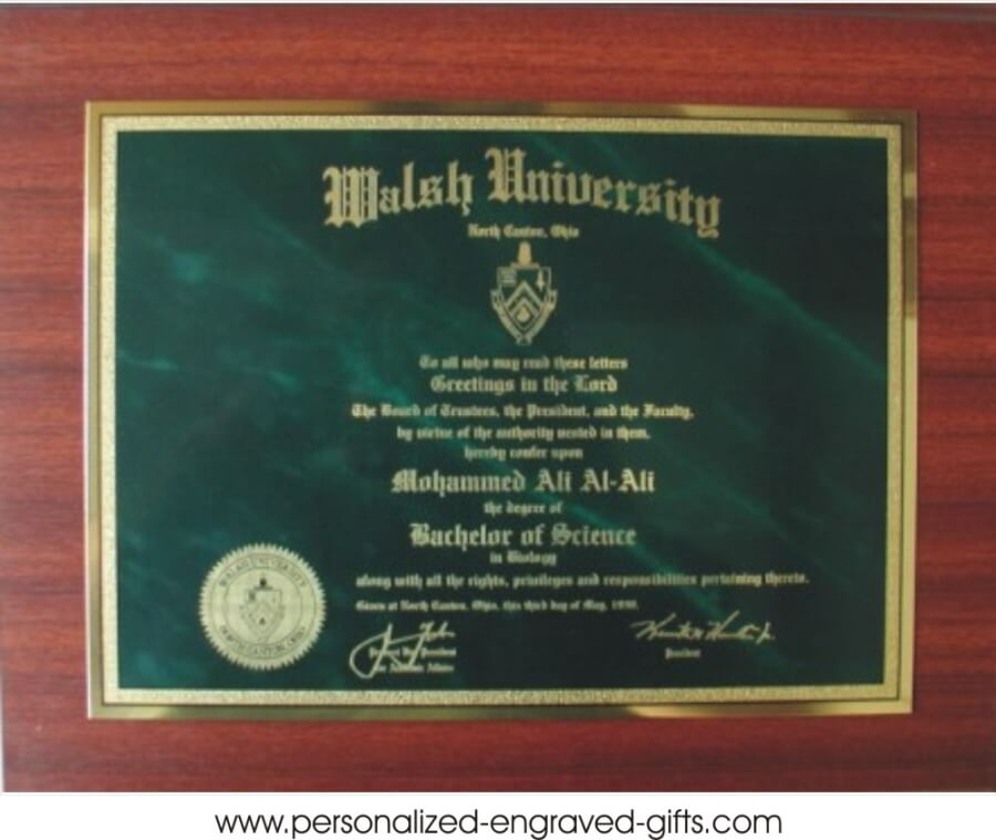 laser engraved metal diploma plaque. Black Bedroom Furniture Sets. Home Design Ideas