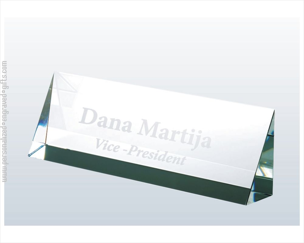 Engraved Classic Crystal Name Plates For Your Desk
