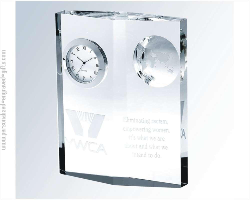 Personalized Crystal Globe Clock