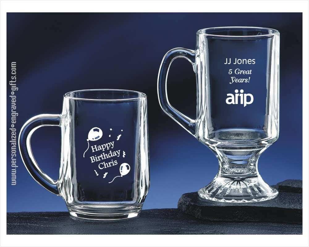 Personalized Glass Coffee Mug Or Irish Coffee Mug