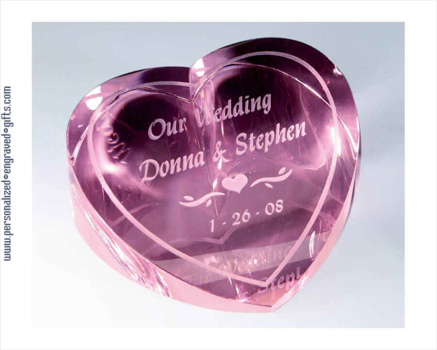Personalized Pink Crystal Heart Paperweight