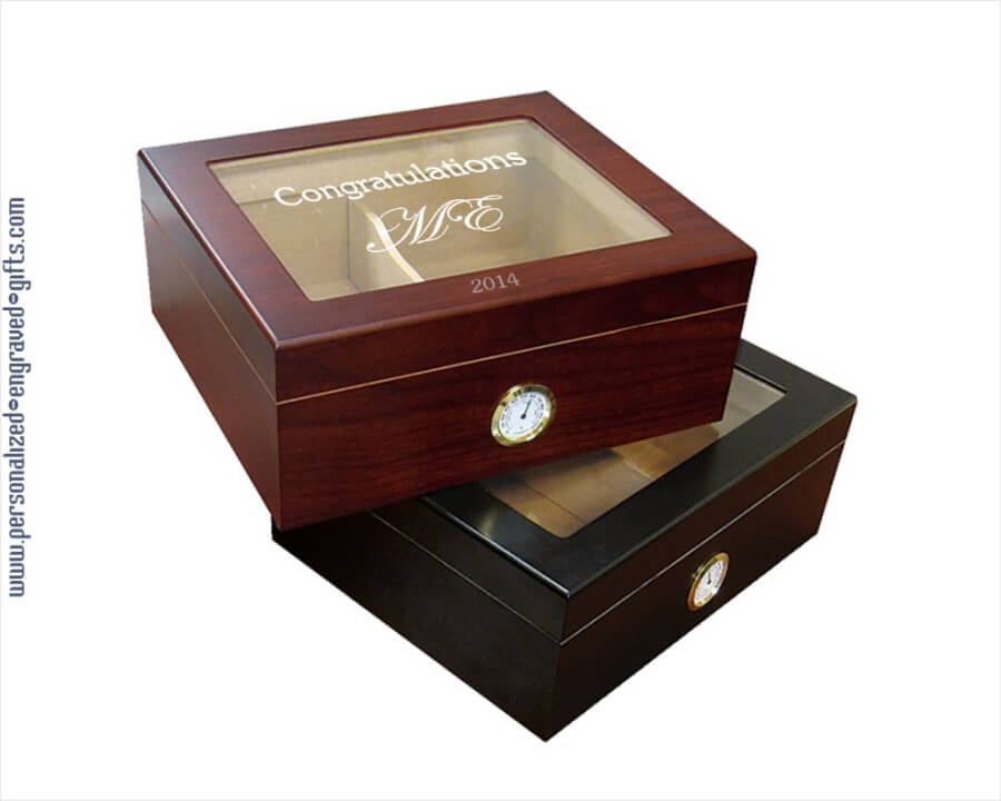 Engraved Wooden Humidors 10inch Cabana Glasstop