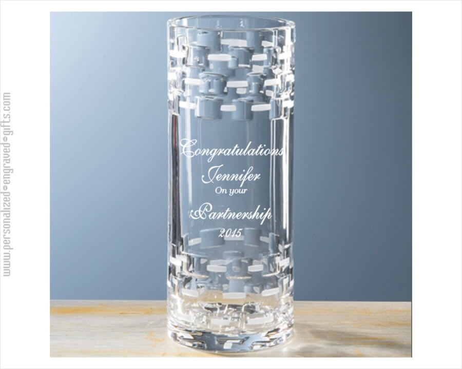 Modern Straight Sided Full Lead Crystal Vase Engraved With Your