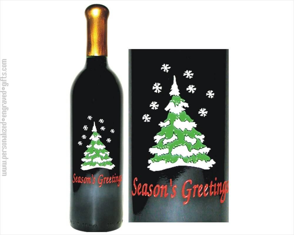 custom engraved wine bottles christmas tree i