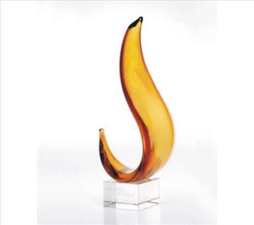 Amber Art Glass Flame Sculpture Custom Engraved