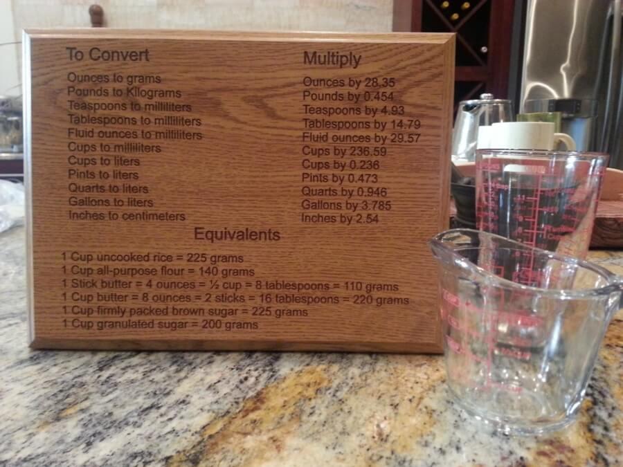 Engraved Wooden Kitchen Measurement Plaque