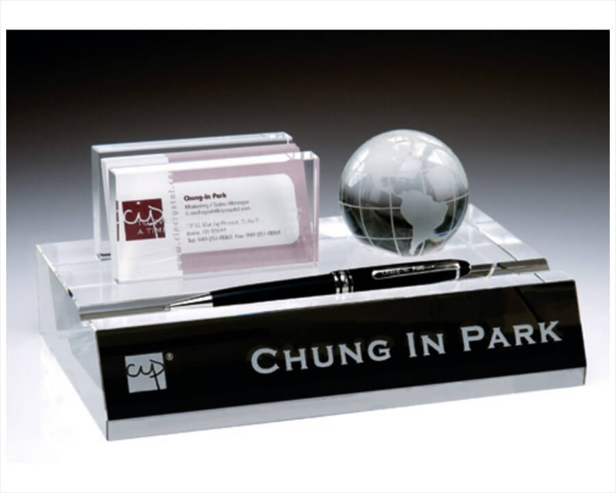 Engraved Crystal Name Plate, Business Card & Pen Holder with Globe