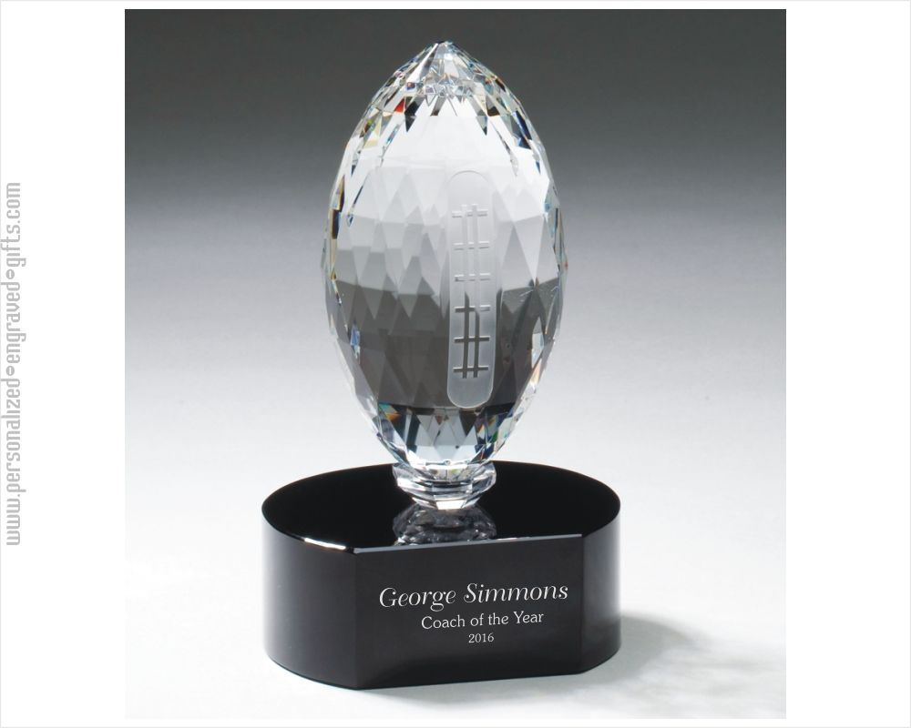 Engraved Crystal Football Award