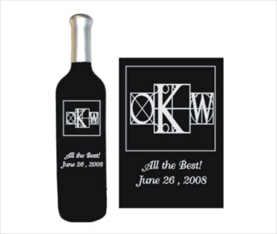 Engraved Wine Bottles Monograms Display Series
