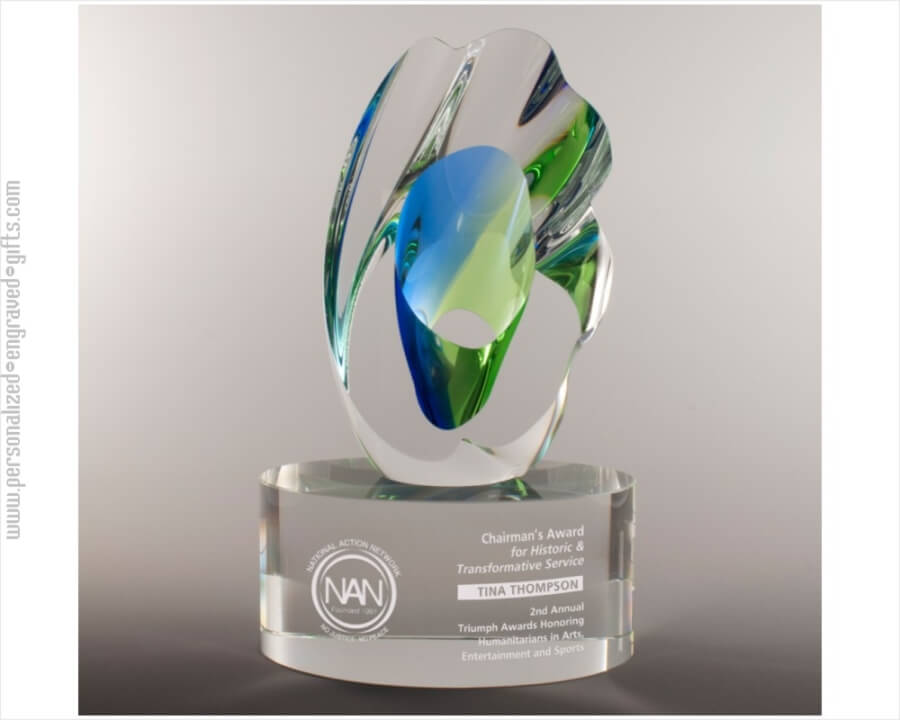 Art Glass Award With Blue Green Mediterranean Colors Custom Engraved The Enchantment